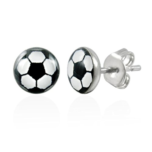 Urban Male Men's Football Round Stud Earrings 6mm In Stainless Steel (Pair)