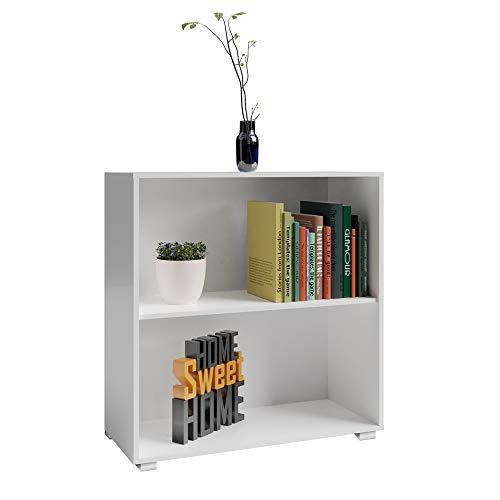 Deuba Standregal Bücherregal Wandregal Regal Holz »Vela« 2 Fächer Weiß【weitere Modell- & Farbauswahl】 -