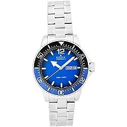 EDOX hombre chronorally-s 44mm correa de acero y carcasa reloj analógico de cuarzo esfera azul suizo 843003nbum bubn