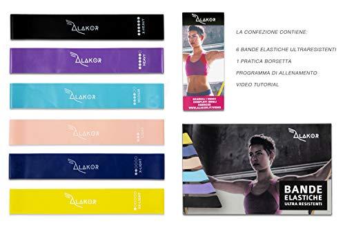 Kit 6 Bande Elastiche Resistenza Sport Fitness Donna Uomo Accessori Attrezzi Palestra per Casa Multifunzione Elastici Resistance Crossfit Pilates Gambe Riabilitazione Fisioterapia Exercise Loop Bands