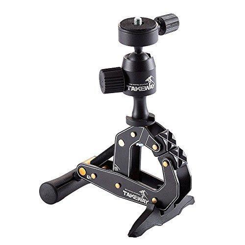 TAKEWAY T1 Klemmstativ - Heavy-Duty Clamp - Universal Klemm-Halterung für Kamera, Smartphone - Aluminium Kamera-Halterung - Kugelkopf für 360 Grad Schwenks - 3 kg Tragkraft