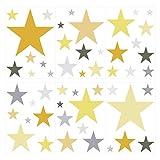 I-love-Wandtattoo WAS-10459 Kinderzimmer Wandsticker Set Pastell Sterne in sommerlichen Gelb und Grau Tönen 50 Stück Sternenhimmel zum Kleben Wandtattoo Wandaufkleber Sticker Wanddeko