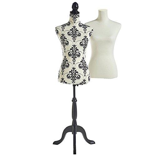 Beautify Mannequin/Buste de Couture Femme Taille 36/38 avec 2 Revêtements Blanc/Noir - Réglable et Trépied