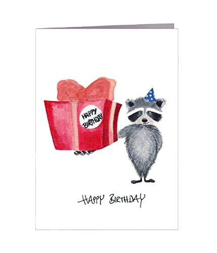 Geburtstagskarte Happy Birthday Waschbär Geschenk - Handmade in Hamburg - 100{8cef842df00dd640da382d4f90a01288a13c1f02e0474f20ae9a01626f82b12f} Recyclingpapier – Glückwunschkarte mit Umschlag Geburtstag Geburtstagsgeschenk Geburtstagskarten Glückwunschkarte Grußkarte Einladung Geschenkkarte