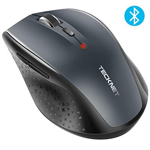 TECKNET Souris Bluetooth sans Fil, Wireless Mouse, 5 Niveaux de DPI Ajustables, 3000 DPI, 6 Boutons-Gris