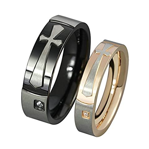 Bishilin Stainless Steel Two Tone Latin Cross Couple Rings Engagement Band