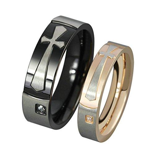 Bishilin acciaio inossidabile bicolore latin anello croce coppia anelli fidanzamento con incisione anello fidanzamento con incisione misura 20