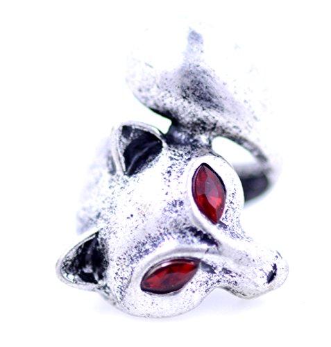 lizzyoftheflowers–Vintage Retro Stil Antik Silber und Rot gefärbte gewickelten Fox Ring (Gefärbt Fox)