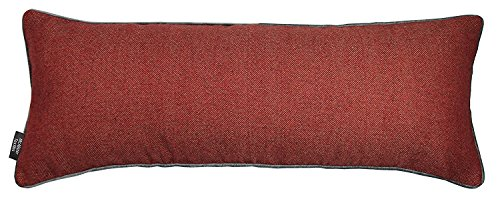 McAlister Textiles Boutique Deluxe Kollektion | Herringbone Grosses Boudoir Kissen Tweed-Muster inkl. Füllung 90cm x 35cm in Rot & Anthrazit | Deko Nackenkissen, Polster im Schottenkaro (Kissen Dekorative Boudoir)