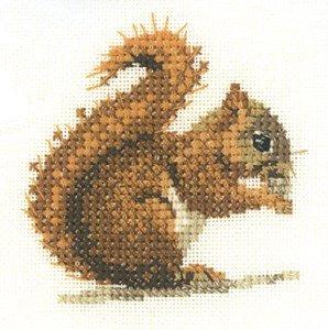 Rot Eichhörnchen–14, Zählstoff, Set (Karte Stoff-diagramm)