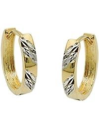 54f417b88d58 Pendientes de aro 15 x 3 mm Pendientes con diamantierten Tiras 375 oro  amarillo bicolor