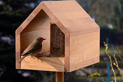 Luxus-Vogelhaus 46601e Eiche-Vogelfutterhaus mit Ständer, Satteldach, Futtertablett und Silo - 9