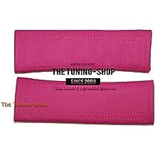 2x cinturón de seguridad Cubre Pads rosa auténtica piel
