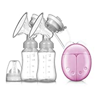 Double Electric Breast Pump With Milk Bottle Infant USB BPA free Powerful Breast Pumps Baby Breast (Feeding Pink)