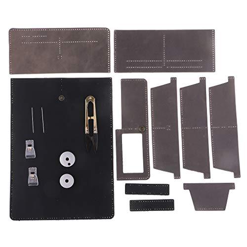 Herren Schwarz Leder Hand Nähen (Baoblaze Geldbeutel zum Selber Nähen, Brieftasche Bastel-Set aus Leder mit Zubehör, Portmonees Selbst Machen - Schwarz + Grau)