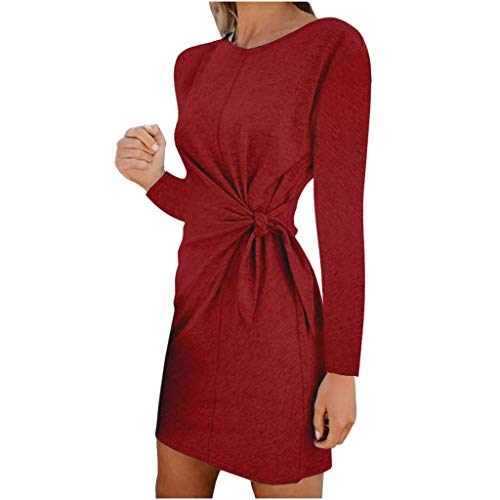 Yazidan Frühling Herbst Minikleid Damen Freizeit Langarm Rundhals Kleid mit Bandage Blusenkleider Mode Slim Kleider Wickelkleider Cocktailkleid Abendkleider Partykleid