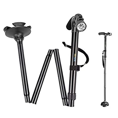 Folding Cane BeGrit Dependable Ajustable Height Lightweight Folding Walking Stick Cane with Built-in LED Lights Non Slip Unisex