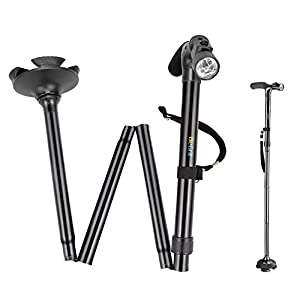 BeGrit Walking-Stick Shuwei zuverlässige Einstellbare Höhe Lightweight Falt-Cane mit integrierten LED-Leuchten Non Slip Unisex