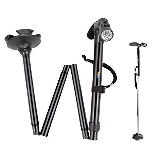 Bastone da passeggio shuwei, affidabile, altezza regolabile, pieghevole con luci a led integrata, non slip, unisex