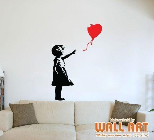 Adesivo murale da parete graffito Banksy girl with balloon - 14 colori disponibili - Ragazza nera con pallone rosso,