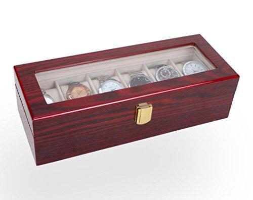 6 Slot caso di esposizione di legno contenitore di vigilanza superiore di vetro e gioielli di archiviazione Organizzatore Regali Uomini