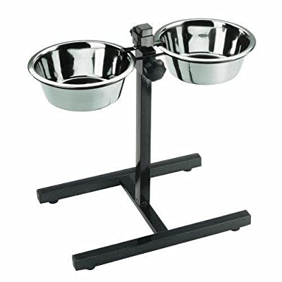 Large Adjustable Dog Bowl Holder + 2 x Bowls (6 pint) by Doghealth
