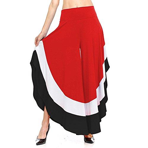 Mxssi Women Flared Trousers Casual Pants Elegant Elastic Bootcut Trousers Contrast Color Long Modern Marlene Pants Soft Comfortable