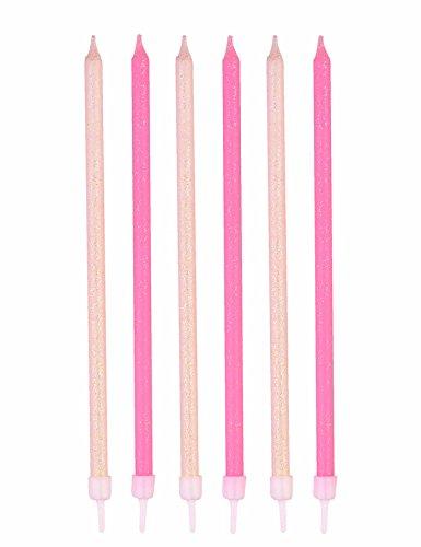 Ginger Ray 24 Kerzen rosa & weiß Glitzer extra lang Geburtstag Geburtstagskuchen