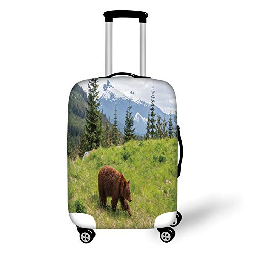 Travel Luggage Cover Suitcase Protector,Bear,Wildlife up in The Mountains Theme Furry Animal Carnivore Yellowstone Nature Habitat,Green Brown,for Travel L