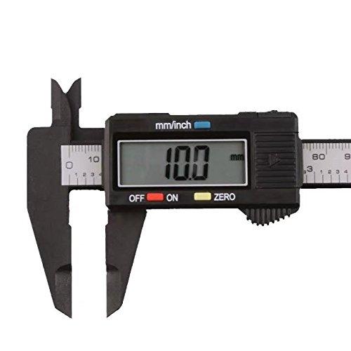 Dirtygal - Calibrador electrónico, 150 mm, escala vernier, visor LCD, fibra de carbono, micrómetro