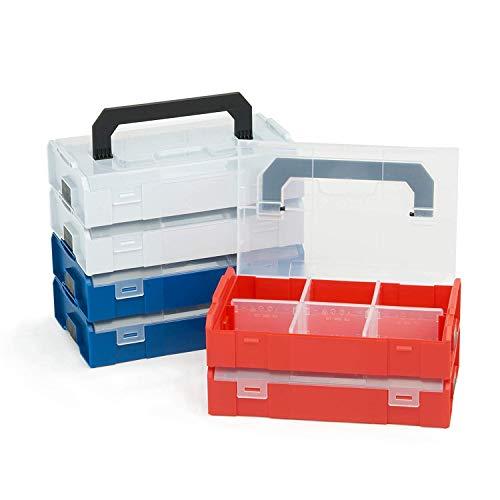 Bosch Sortimo L BOXX Mini | 6er Set farbsortiert | Je 2 grau blau rot | Aufbewahrungsbox Schrauben mit Deckel | Schrauben Sortierkasten Rote Mini-system