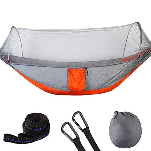 Automatische geöffnete Geschwindigkeit mit Moskitonetz-Hängematte im Freien einzelnem doppeltem Nylon-Fallschirm-Tuch Camping Camping Moskito-Hängematte ( Farbe : Gray orange , größe : 250*120 )