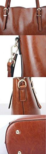 Moonsister Damen Öl Wachs Leder Echts Leder Umhängetasche, Jahrgang Einfachen Große Kapazität Schultertasche Handtasche, Schwarz Braun