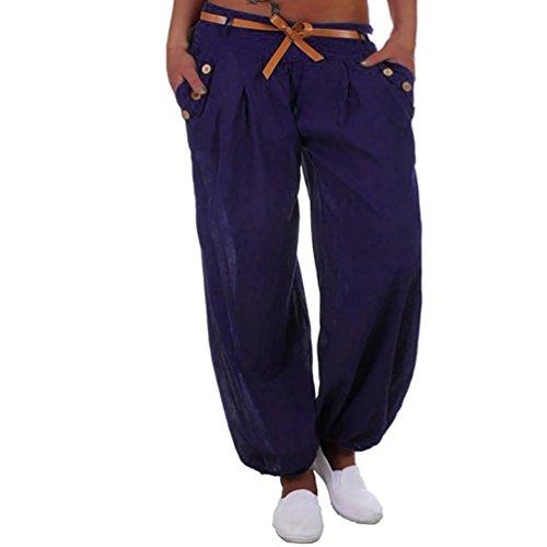 Huihong Damen Haremshose Pumphose Harem Hosen Tasche Aladinhose Beiläufige Hohe Taille Lange Hosen Sport Yoga Hose Hosen Mit Gürtel (Blau, EU:36/CN:M)