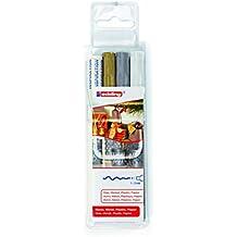 Edding 751 creative - Juego de rotuladores de esmalte, punta de 1-2 mm, color blanco, dorado y plateado.