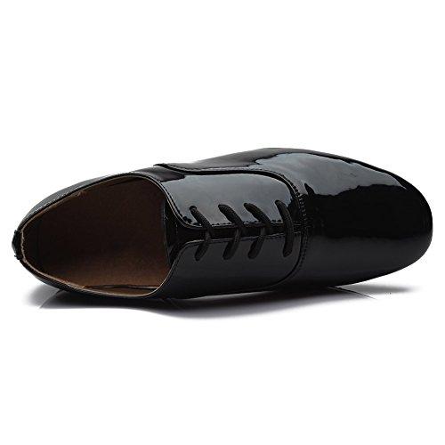 HROYL pour l'homme Chaussons de danse latine/Dance shoes en Cuir FR-703 Noir