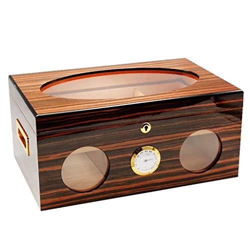 Zigarrenschachtel Zigarrenschachtel, Zedernholz mit Hygrometer und Luftbefeuchter Zigarrenkabinett Doppellagige Große Kapazität, Glas-Top-Zigarettenschachtel Geschenkbox Für Männer, Klavierfarbe, Plat