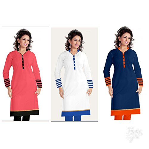 Kesari King Party Wear Semi Stitched Women's Kurti (Combo of 3)
