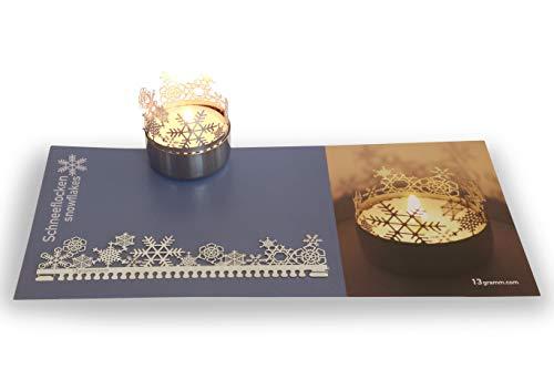 13gramm Schneeflocken Windlicht Schattenspiel Geschenk, 3D Edelstahl Aufsatz für Kerze inkl. Karte