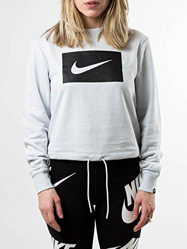 Nike Damen W Nsw Crew Crop Swsh Langarm Oberteil, White Black Electric Green Pure Platinum/Nero