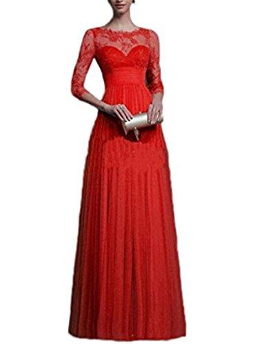 Fanessy Femme Dentelle Robe de Trainé Soiree Sexy Elegant Vintage Maxi Longue Mousseline Lace Manche Cocktail Robe de soirée/Bal/Cérémonie/Fête Cérémonie Rouge