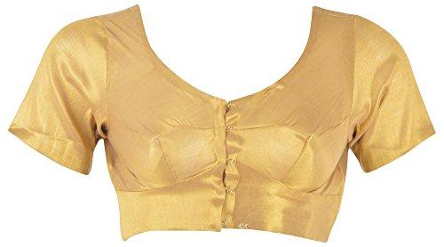 SS Garments Women Silk Saree Blouse,Golden Shimmer Art Silk(k019_m_38,Gold 38)