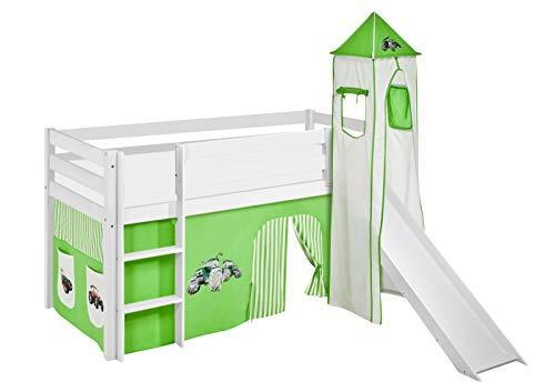 Lilokids Spielbett JELLE mit Turm, Rutsche und Vorhang Kinderbett Holz weiß 198 x 98 x 113 cm