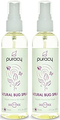Puracy Natural Bug Spray - DEET-Free - The MOST CONCENTRATED Insect Repellent - Clinically Superior Results - Safe for Children - Non-Greasy - Pleasant Smelling - 4 ounce (Pack of 2)