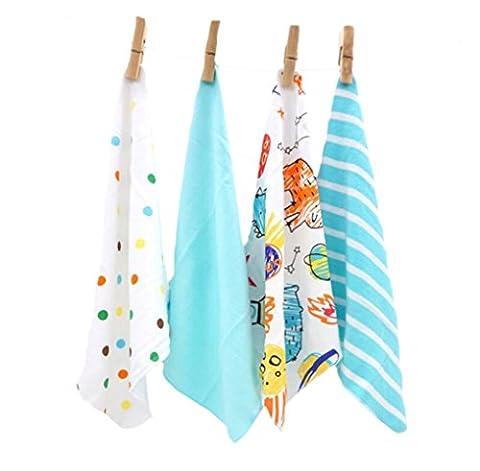 CuteOn 4 PCS Reusable Newborn Baby Washcloth Feeding Wipe Cloth