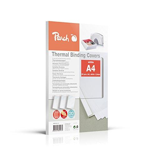 Peach PBT301-01 Thermobindemappe für 15 Blätter, A4, 80g/m2, 20 Stück, weiß