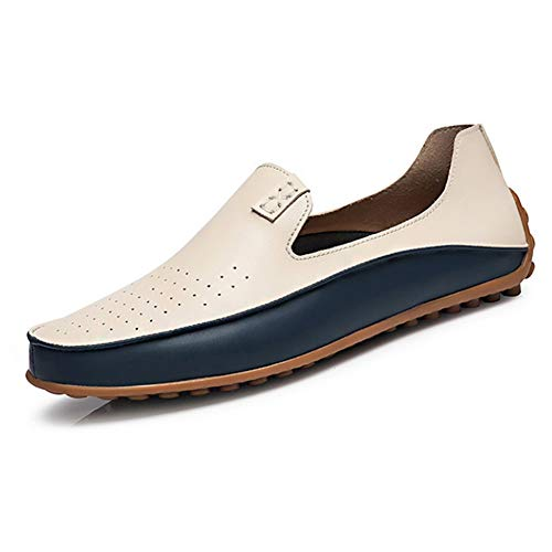 Leobtain Men Driving Moccasins Casual Boat Shoes Leather Shoes Light Slip on Loafers