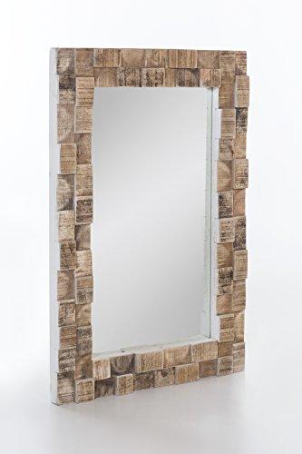 The Wood Times Spiegel 'Bricks', FSC100%, Mangoholz massiv, Holz, Weiß/braun, 90 x 60 x 10 cm