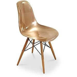 Chaise DSW Charles Eames Style - Fibre de verre Brillant Bronze