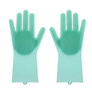 Reusable Silicone Gloves with wash Scrubber,AmaMary Magic Heat Resistant Cleaning Brush Gloves for Dish Wash Cleaning Pet Hair Care (Green)